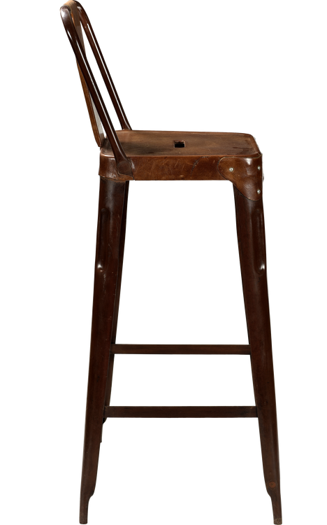 Brunt läder barstol