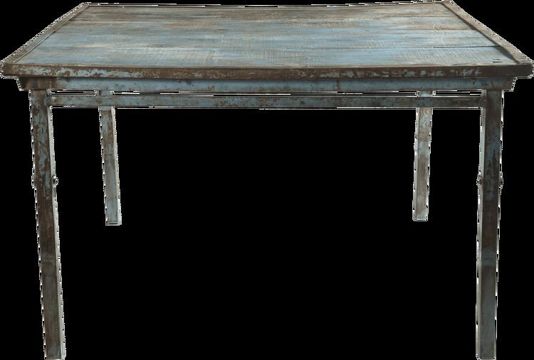 Blått fyrkantigt vintage matbord