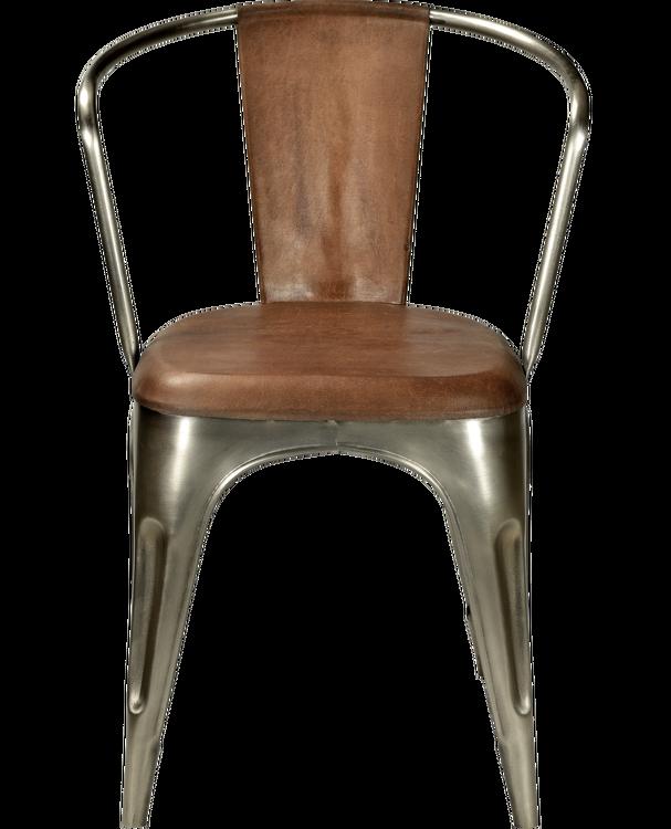 Plåtstol med armstöd & brunt läder