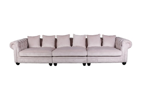 Rosa sammet soffa