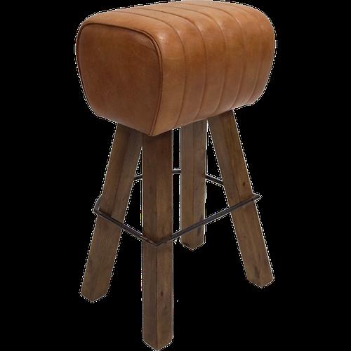 Brun läder barpall