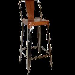 Barstol med brun lädersits