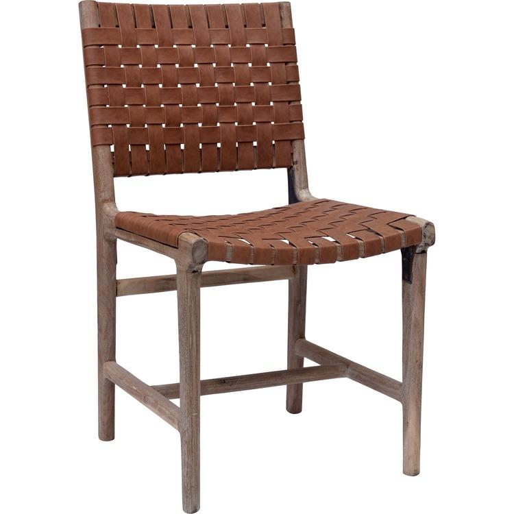 Flätad läder stol