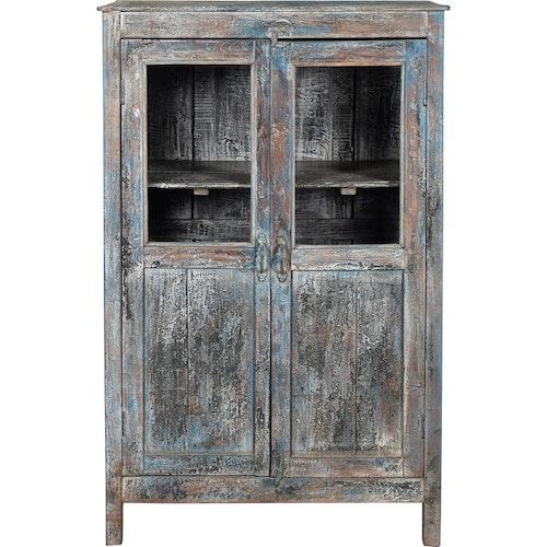 Blå patina trä