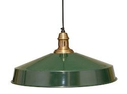 Grön vintage lampa med mässing sockel