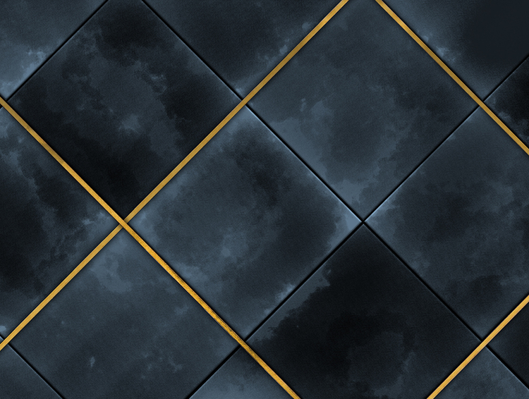 Tapetmönster av marinblå kakelplattor med akvarellmönster. Inramade av en guldlist.