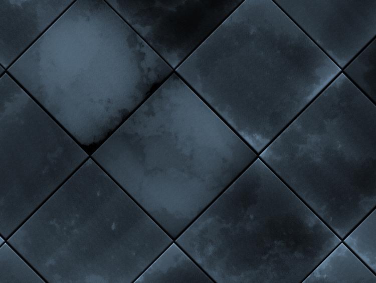 Tapetmönster av marinblå akvarellmönstrade kakelplattor.