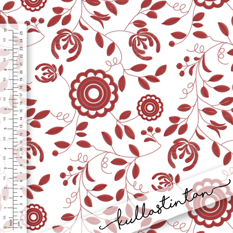 Tyg med mönster av röd Delsbosöm. Sinlge Jersey 200gr, 95/5 bomull/lycra.
