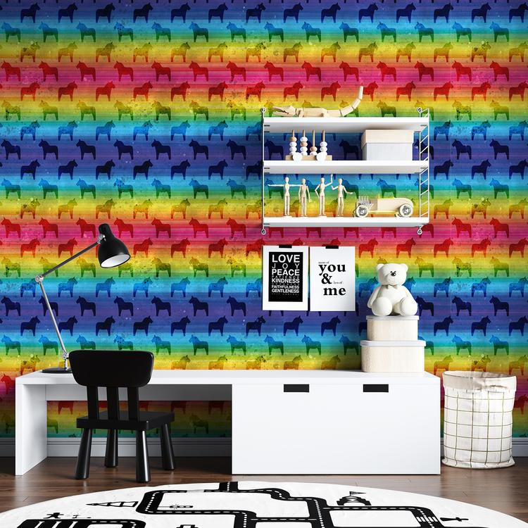 Akvarellhästar - Regnbåge
