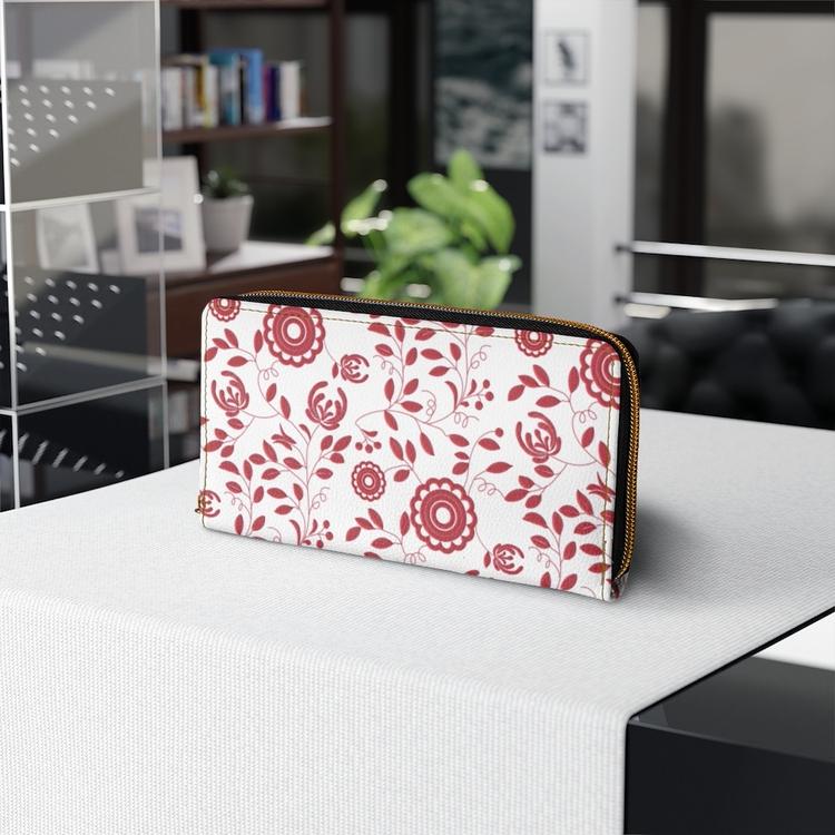 Plånbok med dragkedja - Delsbosöm Ingrid röd
