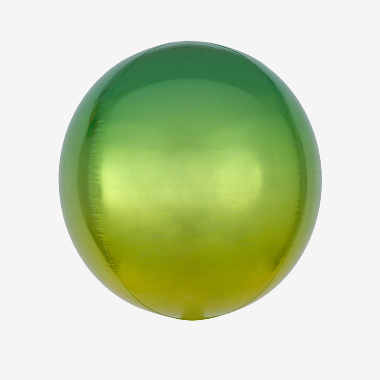 Ballongpost - Folieballong - Orbz Ombre Yellow & Green