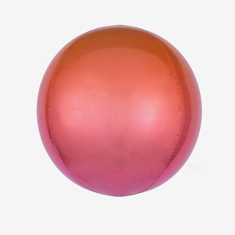 Ballongpost - Folieballong - Orbz Ombre Red & Orange
