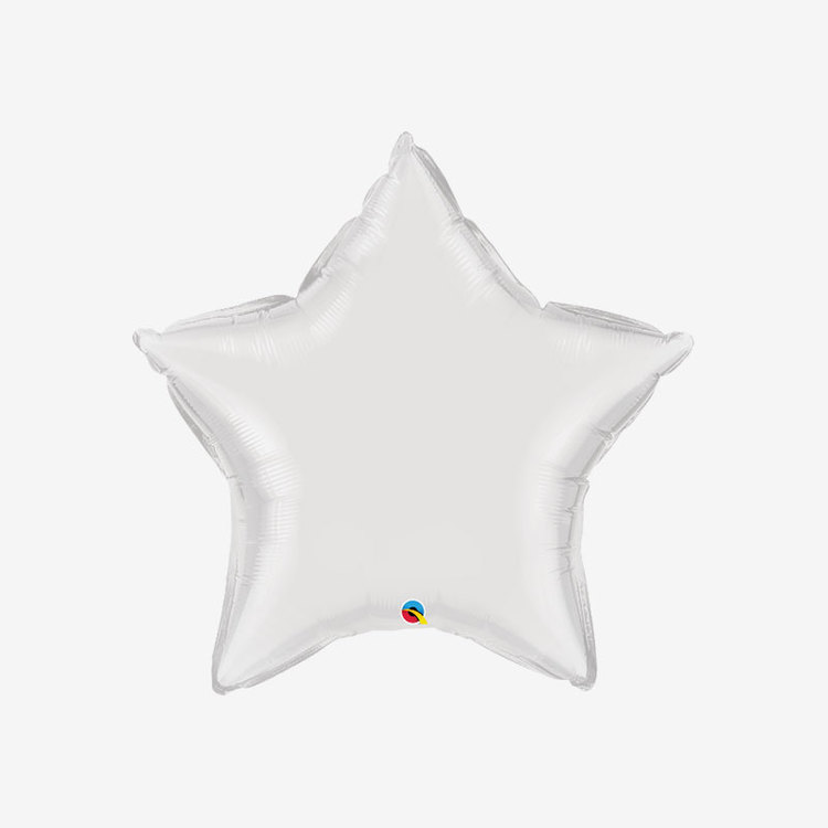Ballongpost Folieballong - Stjärna Vit