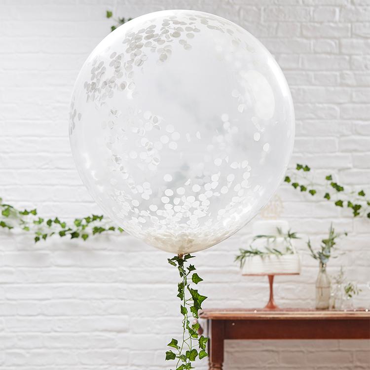 Jätteballonger - Konfetti Vit