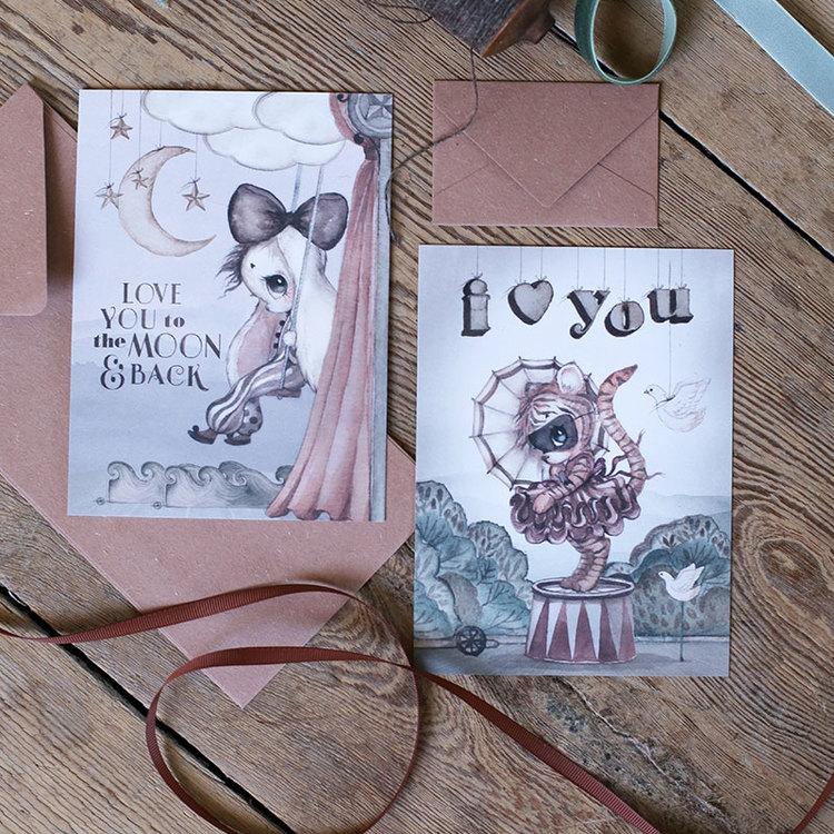 2-pack kort Moon Love -  Mrs Mighetto