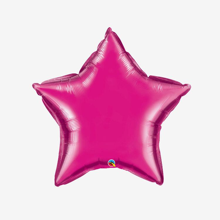 Folieballong - Stjärna Fuchsia