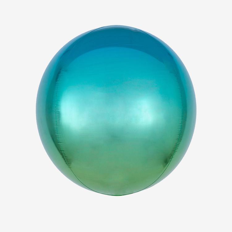 Folieballong - Orbz Ombre Blue & Green