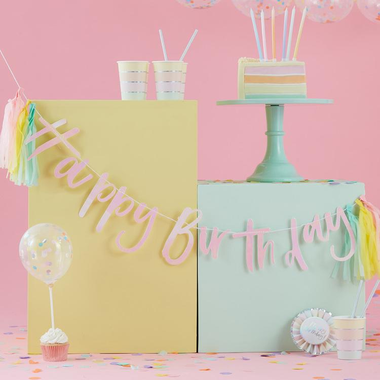 Girlang - Happy Birthday Tassels - Rosa