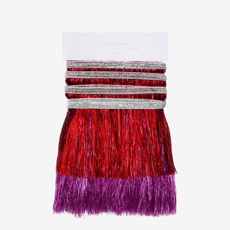 Girlang - Glitter Fransar - Fuchsia Röd