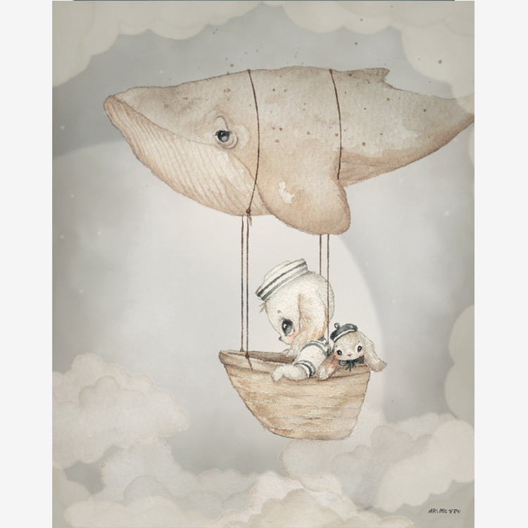 Flying whale 40x50 - Mrs Mighetto