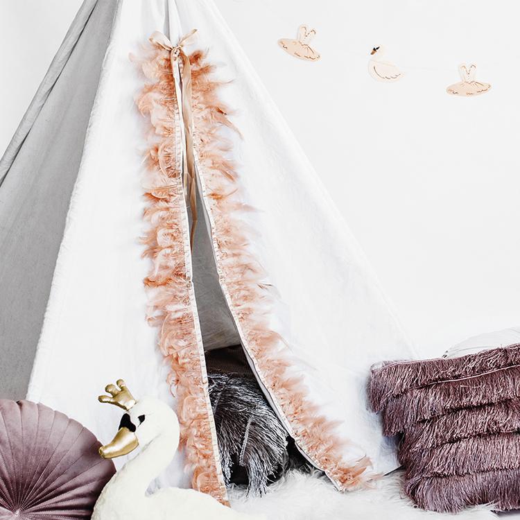 Girlang - Fjädrar - Puderrosa