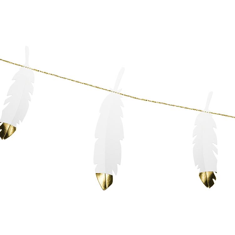 Girlang - Fjädrar - Vit & Guld