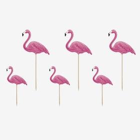 Tårtdekoration - Flamingos