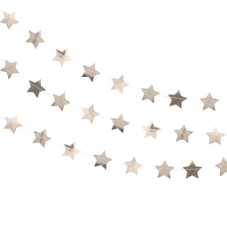 Girlang - Confetti Stjärnor - Roséguld