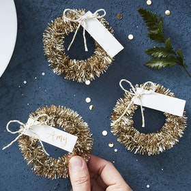 Placeringskort - Rustic Christmas - Guld