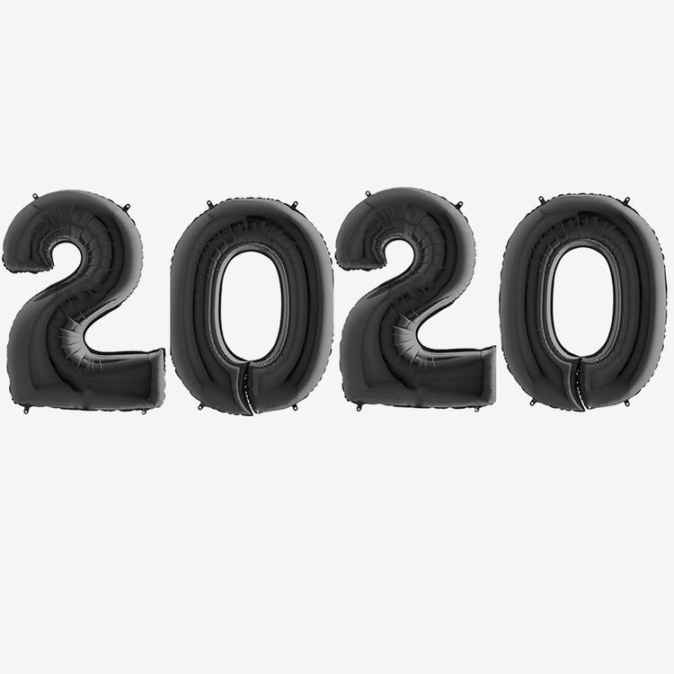 Sifferballonger 2020 med helium - Svart