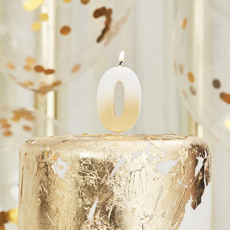 Tårtljus - 0:a - Ombre Guld