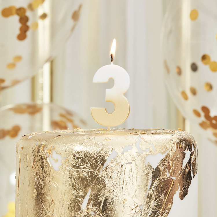 Tårtljus - 3:a - Ombre Guld
