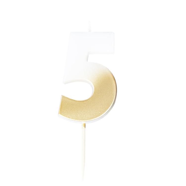 Tårtljus - 5:a - Ombre Guld
