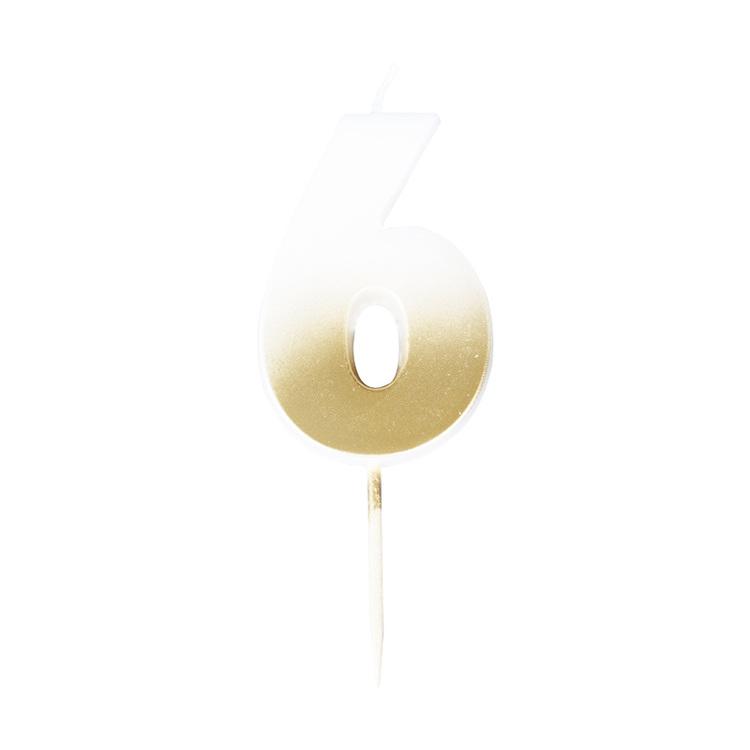 Tårtljus - 6:a - Ombre Guld