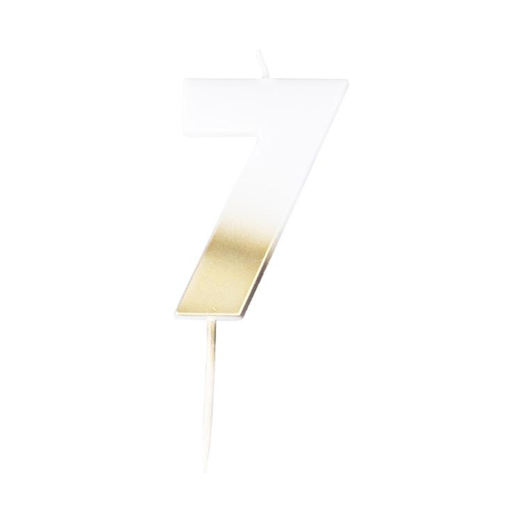Tårtljus - 7:a - Ombre Guld