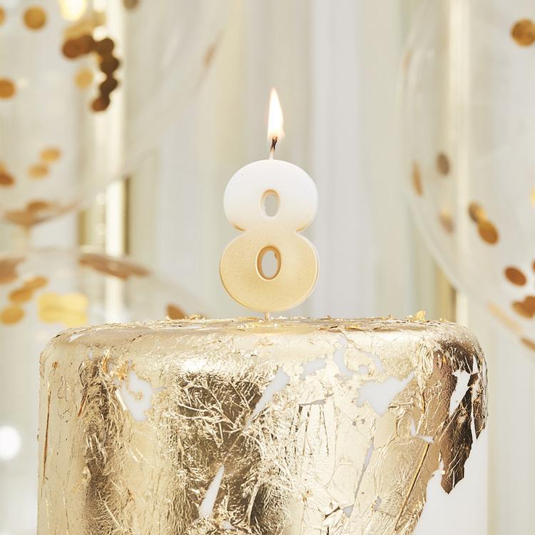 Tårtljus - 8:a - Ombre Guld