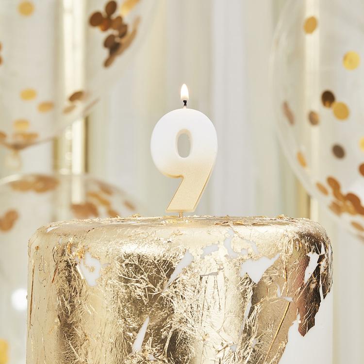 Tårtljus - 9:a - Ombre Guld