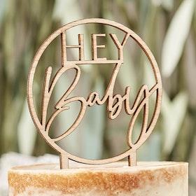 Tårtdekoration - Hey Baby - Trä