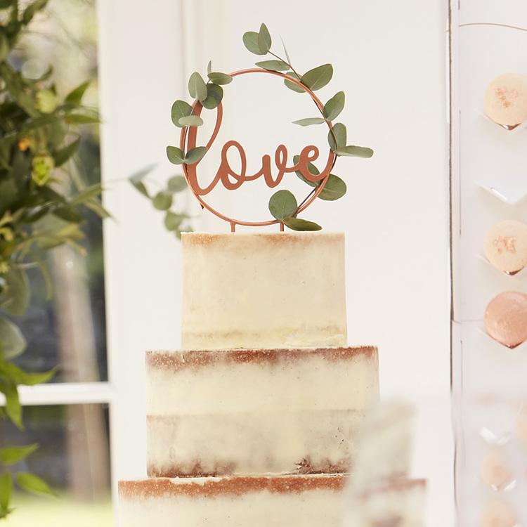 Tårtdekoration - Love - Roséguld