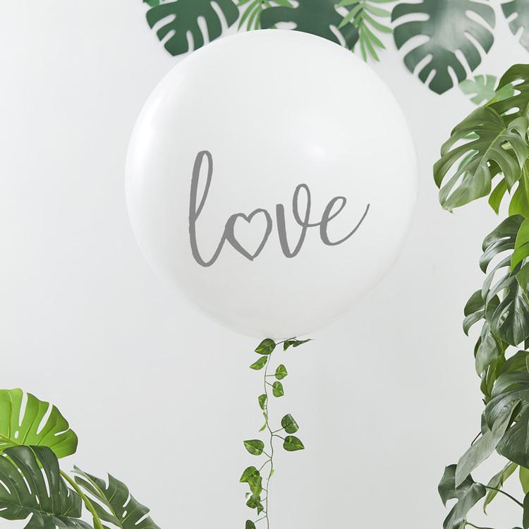 Jätteballong - Love - Vit