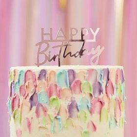 Tårtdekoration - Happy Birthday - Rosé
