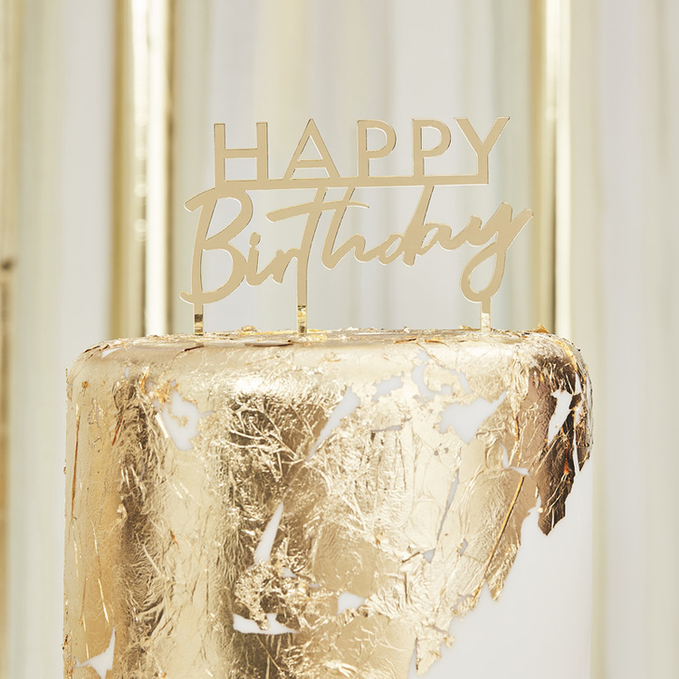 Tårtdekoration - Happy Birthday - Guld