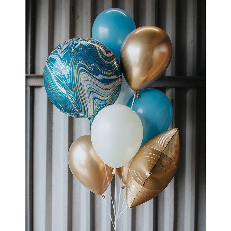 Ballongbukett Marble Blå för alla studenterna!