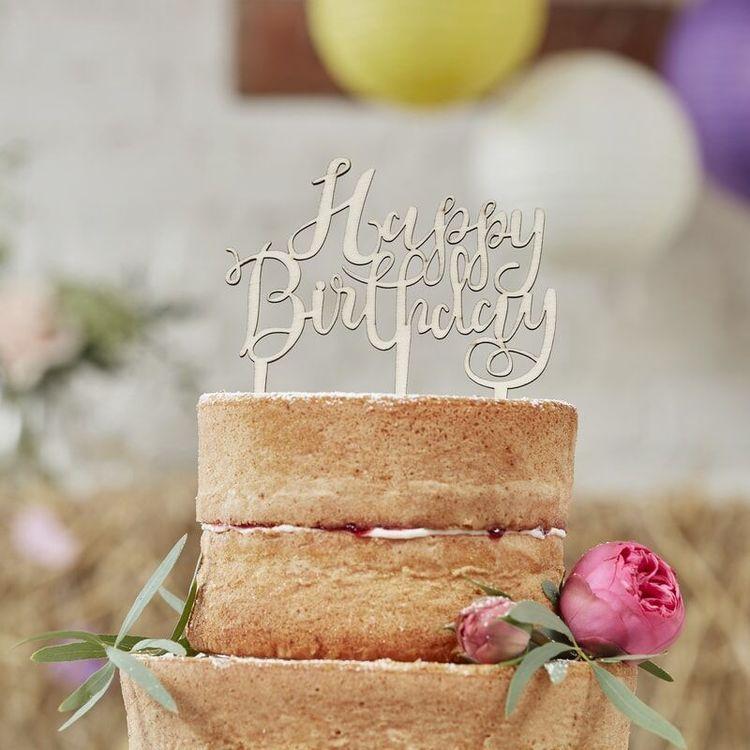 Tårtdekoration - Happy Birthday - Boho