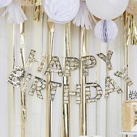 Girlang - Happy Birthday - Guldfransar