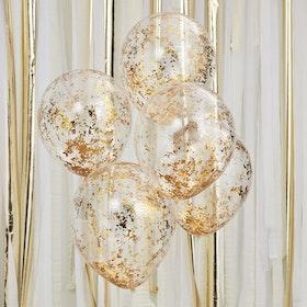 Ballonger - Strimlad konfetti - guld