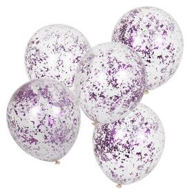 Ballonger - Strimlad konfetti - Lila