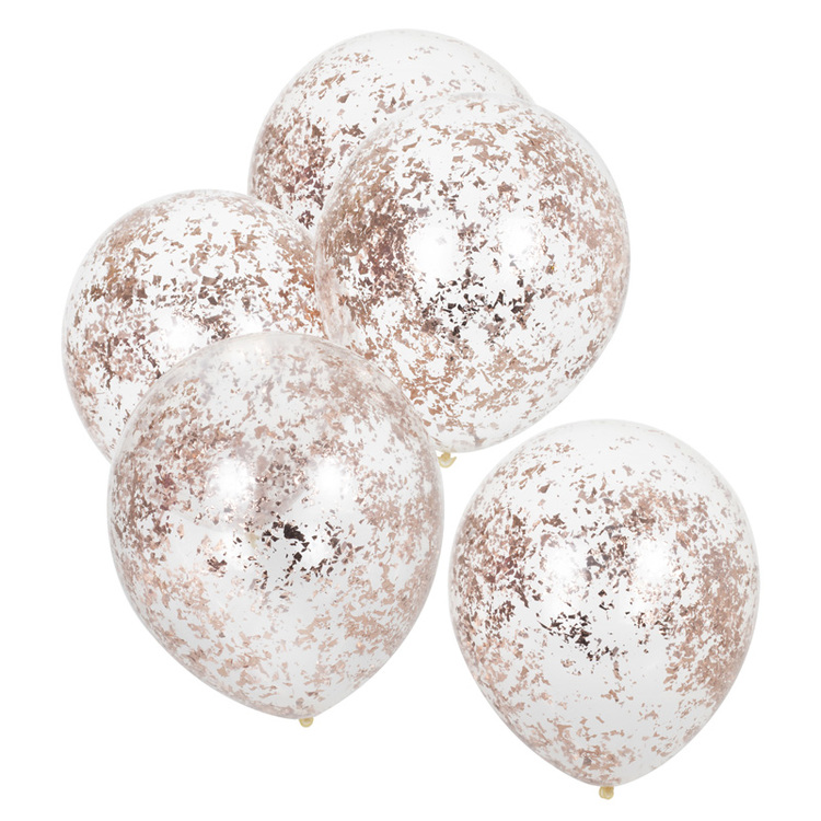 Ballonger - Strimlad konfetti - Rosé