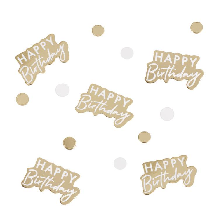 Konfetti - Happy Birthday - Guld