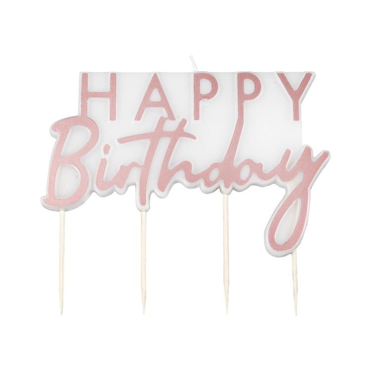 Tårtljus - Happy Birthday - Rosé